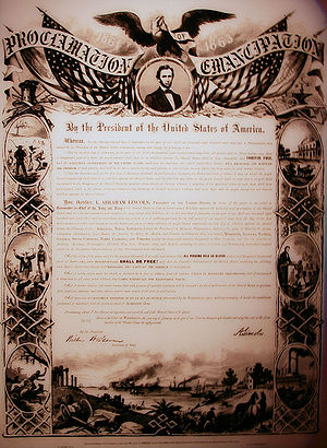 Emancipation Proclaimation freed the slaves.