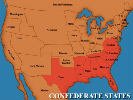13  states left the union (pictured in red)