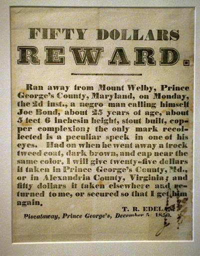 A runaway slave reward notice