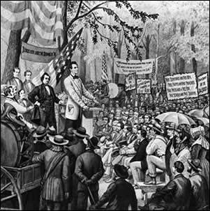 Lincoln debating Stephen Douglas. He won the presidency