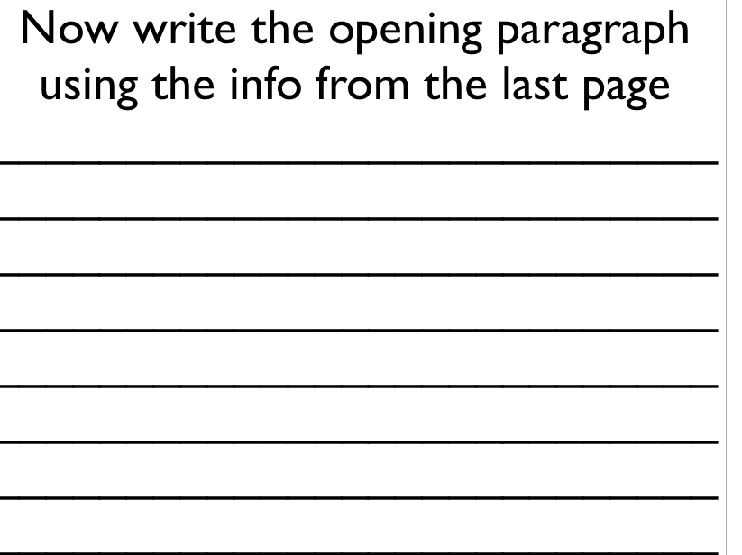 write an opening paragraph using who what where when and why